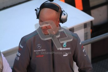 © 2012 Octane Photographic Ltd. Barcelona Winter Test 2 Day 1 - Thursday 1st March 2012. Mercedes W03 - Member of the pit team. Digital Ref : 0231cb7d7932