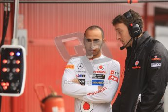 © 2012 Octane Photographic Ltd. Barcelona Winter Test 2 Day 2 - Friday 2nd March 2012. Lewis Hamilton has McLaren's new pit control lights explained. Digital Ref :