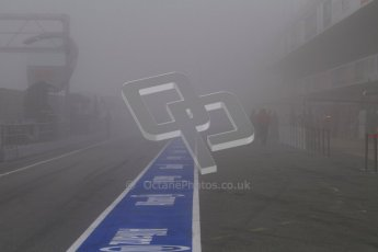 © 2012 Octane Photographic Ltd. Barcelona Winter Test 2 Day 2 - Friday 2nd March 2012. Thick fog in the morning pitlane. Digital Ref :
