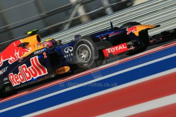 World © Octane Photographic Ltd. F1 USA - Circuit of the Americas - Friday Morning Practice - FP1. 16th November 2012. Red Bull RB8 - Mark Webber. Digital Ref: 0557lw1d1017