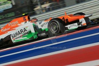 World © Octane Photographic Ltd. F1 USA - Circuit of the Americas - Friday Morning Practice - FP1. 16th November 2012. Force India VJM05 - Nico Hulkenberg. Digital Ref: 0557lw1d1060