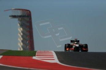 World © Octane Photographic Ltd. Formula 1 USA, Circuit of the Americas - Qualifying. 17th November 2012 HRT F112 - Pedro de La Rosa. Digital Ref: 0560lw1d3200