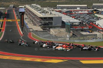 World © Octane Photographic Ltd. Formula 1 USA, Circuit of the Americas - Race - The pack get through turn 1 without incident. 18th November 2012 Digital Ref: 0561lw1d4165