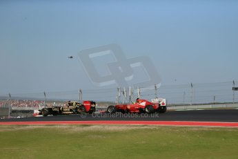 World © Octane Photographic Ltd. Formula 1 USA, Circuit of the Americas - Race 18th November 2012. Lotus E20 - Kimi Raikkonen and Ferrari F2012 Felipe Massa. Digital Ref: 0561lw1d4346