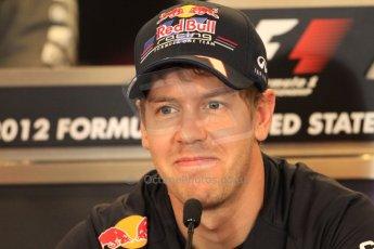 2012 © www.octanephotos.co.uk Circuit of the Americas - Thursday Press Conference - Sebastian Vettel - Red Bull. 15th November 2012 Digital Ref: 0556lw7d2668