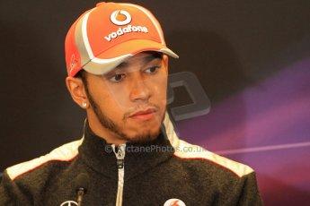 2012 © www.octanephotos.co.uk Circuit of the Americas - Thursday Press Conference - Lewis Hamilton - McLaren. 15th November 2012 Digital Ref: 0556lw7d2704