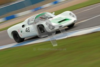 "© Octane Photographic Ltd. 2012 Donington Historic Festival. ""1000km"" for pre-72 sports-racing cars, qualifying. Porsche 910 - Peter Vogele. Digital Ref : 0319cb7d0214"
