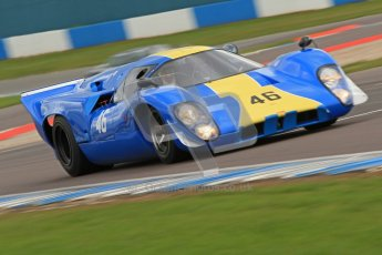 "© Octane Photographic Ltd. 2012 Donington Historic Festival. ""1000km"" for pre-72 sports-racing cars, qualifying. Lola T70 - David Coplow/Martin Stretton. Digital Ref : 0319cb7d0235"