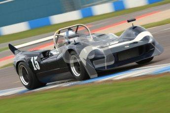 "© Octane Photographic Ltd. 2012 Donington Historic Festival. ""1000km"" for pre-72 sports-racing cars, qualifying. McLaren M1C - Ewan McIntyre/Jamie McIntyre. Digital Ref : 0319cb7d0240"