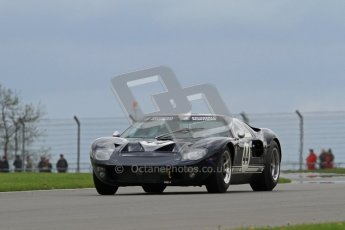 """© Octane Photographic Ltd. 2012 Donington Historic Festival. """"1000km"""" for pre-72 sports-racing cars, qualifying. Ford GT40 - Joaquin Folch-R./Michael Schryver. Digital Ref : 0319lw7d9314"""