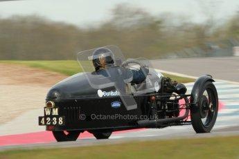 "© Octane Photographic Ltd. 2012 Donington Historic Festival. ""Mad Jack"" for pre-war sportscars, qualifying. Morgan Super Aero - Sue Darbyshire/Gary Caroline. Digital Ref : 0314cb1d7552"