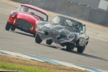 © Octane Photographic Ltd. 2012 Donington Historic Festival. Pre-63 GT, qualifying. Jaguar E-type - Michael Quinn and AC Ace Bristol - Cussons. Digital Ref : 0322cb1d9299