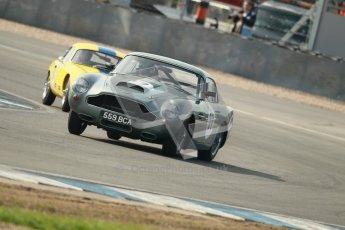© Octane Photographic Ltd. 2012 Donington Historic Festival. Pre-63 GT, qualifying. Aston Martin DB4GT - Paul Drayson. Digital Ref : 0322cb1d9305