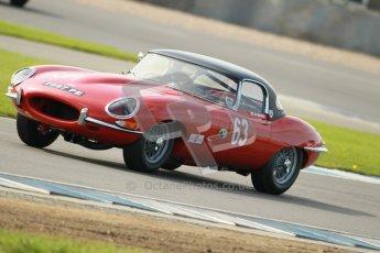 © Octane Photographic Ltd. 2012 Donington Historic Festival. Pre-63 GT, qualifying. Jaguar E-type - Jon Minshaw, Guy Minshaw. Digital Ref : 0322cb1d9349