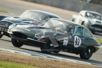 © Octane Photographic Ltd. 2012 Donington Historic Festival. Pre-63 GT, qualifying. Jaguar E-type - Michael Quinn. Digital Ref : 0322cb1d9360