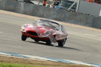 © Octane Photographic Ltd. 2012 Donington Historic Festival. Pre-63 GT, qualifying. Jaguar E-type - Jon Minshaw, Guy Minshaw. Digital Ref : 0322cb1d9391