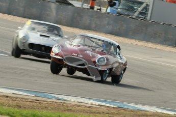 © Octane Photographic Ltd. 2012 Donington Historic Festival. Pre-63 GT, qualifying. Jaguar E-type - James Cottingham, Jeremy Cottingham. Digital Ref : 0322cb1d9400