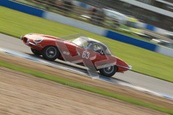 © Octane Photographic Ltd. 2012 Donington Historic Festival. Pre-63 GT, qualifying. Jaguar E-type - Jon Minshaw, Guy Minshaw. Digital Ref : 0322cb7d0363
