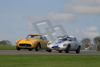 © Octane Photographic Ltd. 2012 Donington Historic Festival. Pre-63 GT, qualifying. Lotus Elite - Nick Atkins, Malcolm Ricketts and Ferrari 250SWB - Jackie Oliver, Gary Pearson. Digital Ref : 0322lw7d0315