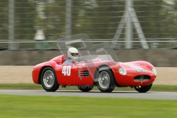 © Octane Photographic Ltd. 2012 Donington Historic Festival. RAC Woodcote Trophy for pre-56 sportscars, qualifying. Maserati 150S - Martin Halusa. Digital Ref : 0316cb1d8099