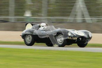 © Octane Photographic Ltd. 2012 Donington Historic Festival. RAC Woodcote Trophy for pre-56 sportscars, qualifying. Jaguar D-type - Nick Adams/Robin Ward. Digital Ref : 0316cb1d8117