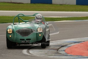 © Octane Photographic Ltd. 2012 Donington Historic Festival. RAC Woodcote Trophy for pre-56 sportscars, qualifying. Austin-Healey. Digital Ref : 0316lw7d8423