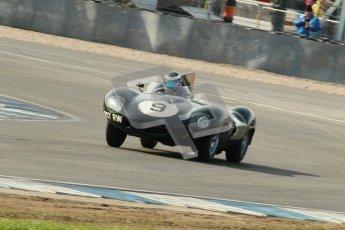 © Octane Photographic Ltd. 2012 Donington Historic Festival. Stirling Moss Trophy for pre-61 sportscars, qualifying. Jaguar D-type, Benjamin Eastick. Digital Ref : 0321cb1d8972