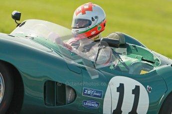 © Octane Photographic Ltd. 2012 Donington Historic Festival. Stirling Moss Trophy for pre-61 sportscars, qualifying. Aston Martin DBR1 - Bobby Verdon-Roe. Digital Ref : 0321cb1d9147