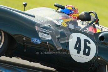 © Octane Photographic Ltd. 2012 Donington Historic Festival. Stirling Moss Trophy for pre-61 sportscars, qualifying. Lister Jaguar Costin - Chris Ward. Digital Ref : 0321cb1d9163