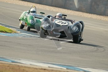 © Octane Photographic Ltd. 2012 Donington Historic Festival. Stirling Moss Trophy for pre-61 sportscars, qualifying. Lister Knobbly - Alastair Dovey, Mark Hales. Digital Ref : 0321cb1d9215