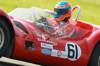 © Octane Photographic Ltd. 2012 Donington Historic Festival. Stirling Moss Trophy for pre-61 sportscars, qualifying. Maserati T61 Birdcage - Jason Minshaw. Digital Ref : 0321cb1d9226