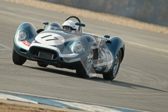 © Octane Photographic Ltd. 2012 Donington Historic Festival. Stirling Moss Trophy for pre-61 sportscars, qualifying. Lister Jaguar Knobbly - Derek Hood, John Young. Digital Ref : 0321cb1d9245