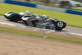 © Octane Photographic Ltd. 2012 Donington Historic Festival. Stirling Moss Trophy for pre-61 sportscars, qualifying. Cooper Monaco T49 - Graeme Dodd. Digital Ref : 0321cb7d0355