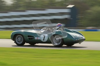 © Octane Photographic Ltd. 2012 Donington Historic Festival. Stirling Moss Trophy for pre-61 sportscars, qualifying. Aston-Martin DBR1 - Wolfgang Friedrichs,David Clark. Digital Ref : 0321lw7d0040