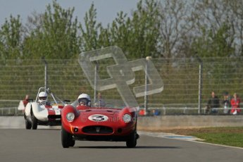© Octane Photographic Ltd. 2012 Donington Historic Festival. Stirling Moss Trophy for pre-61 sportscars, qualifying. Maserati 250S - Stephen Bond/Keith Fell. Digital Ref : 0321lw7d0144
