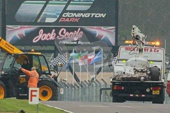 © Octane Photographic Ltd. Donington Park testing, May 3rd 2012. Aftermath of Bob Berridge's accident in the Ex-Michael Schumacher/Mauro Baldi Sauber C11. Digital Ref : 0313cb1d6971