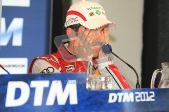 © Octane Photographic Ltd. 2012. DTM – Brands Hatch - Post-race press conference. Sunday 20th May 2012. Mike Rockenfeller - Audi A5 DTM - Audi Sport Team Phoenix. Digital Ref : 0346cb7d7287