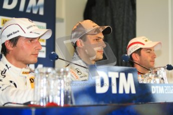 © Octane Photographic Ltd. 2012. DTM – Brands Hatch - Post-race press conference. Sunday 20th May 2012.  Bruno Spengler - BMW M3 DTM - BMW Team Schnitzer, Gary Paffett - AMG C-Coupe - Thomas Sabo Mercedes AMG and Mike Rockenfeller - Audi A5 DTM - Audi Sport Team Phoenix. Digital Ref : 0346cb7d7317