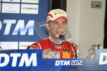 © Octane Photographic Ltd. 2012. DTM – Brands Hatch - Post-race press conference. Sunday 20th May 2012. Mike Rockenfeller - Audi A5 DTM - Audi Sport Team Phoenix. Digital Ref : 0346cb7d7326