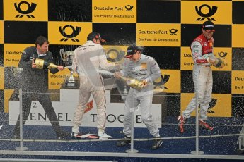 © Octane Photographic Ltd. 2012. DTM – Brands Hatch  - Race Poduim. Sunday 20th May 2012.  Gary Paffett, Bruno Spengler, Mike Rockenfeller celebrate on the Brands Hatch Poduim. Digital Ref :