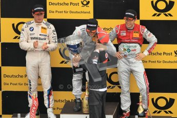 © Octane Photographic Ltd. 2012. DTM – Brands Hatch  - Race. Sunday 20th May 2012. Gary Paffett receives his trophey fron Jenson Button - Mercedes AMG C-Coupe - Thomas Sabo Mercedes AMG, Bruno Spengler - BMW M3 DTM - BMW Team Schnitzer and Mike Rockenfeller - Audi A5 DTM - Audi Sport Team Phoenix. Digital Ref :