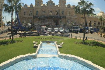 © Octane Photographic Ltd. 2012. F1 Monte Carlo - GP2 Practice 1. Thursday  24th May 2012. Monte Carlo Casino reflected in thier chromed fountain. Digital Ref : 0353cb1d0600