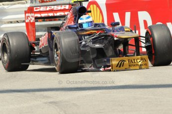 © Octane Photographic Ltd. 2012. F1 Monte Carlo - Qualifying - Session 2. Saturday 26th May 2012. Jean-Eric Vergne limps back to the pits with a damaged front wing - Toro Rosso. Digital Ref : 0355cb1d6715