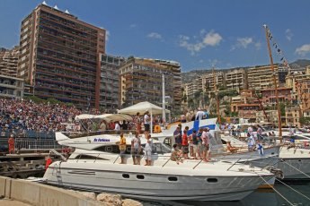 © Octane Photographic Ltd. 2012. F1 Monte Carlo - Qualifying - Session 1. Saturday 26th May 2012. The crowds gather on land and on the yachts to watch qualifying unfold. Digital Ref : 0355cb7d8755