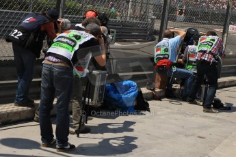 © Octane Photographic Ltd. 2012. F1 Monte Carlo - Qualifying - Session 2. Saturday 26th May 2012. Media queue  at the swimming pool entrance chicane. Digital Ref : 0355cb7d8937