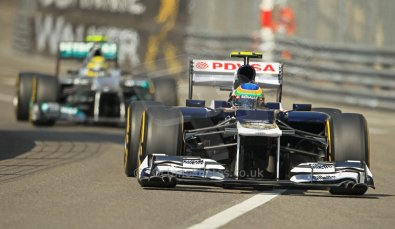 © Octane Photographic Ltd. 2012.  F1 Monte Carlo - Practice 1. Thursday  24th May 2012. Bruno Senna - Williams and Nico Rosberg - Mercedes. Digital Ref : 0350cb1d0165