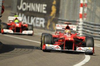 © Octane Photographic Ltd. 2012. F1 Monte Carlo - Practice 1. Thursday  24th May 2012. Fernando Alonso and Felipe Massa - Ferrari. Digital Ref : 0350cb1d0366