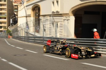 © Octane Photographic Ltd. 2012. F1 Monte Carlo - Practice 1. Thursday  24th May 2012. Kimi Raikkonen - Lotus, on his aborted outlap run in this session. Digital Ref : 0350cb7d7353