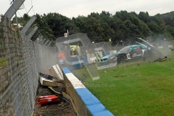 © Chris Enion/Octane Photographic Ltd 2012. FIA GT1 Championship, Donington Park, Sunday 30th September 2012. Nikolas Mayr-Melnhof crashes out at Hollywood on lap one in his Vita4One Racing Team BMW E89 Z4GT3. Digital Ref : 0534ce1d0147