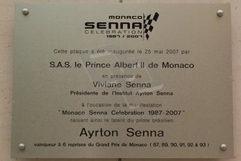© Octane Photographic Ltd. 2012. F1 Monte Carlo - Practice 2. Thursday 24th May 2012. Ayrton Senna celebration 1987-2007 plaque at the Fairmont Hotel. Digital Ref :  0352cb7d7989